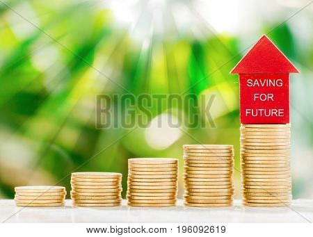 Red model house put on collected coins with fresh green nature blurred background in the morning