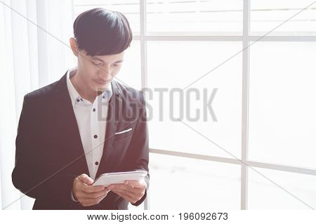 business man working in his company business concept