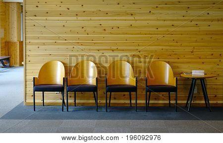 Interior Of Wooden Hotel Lobby In Akita, Japan
