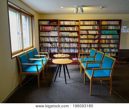 Interior Of Vintage Reading Room At Wooden House