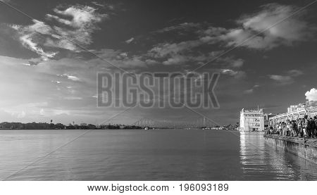 July 15,2017. Babughat, Kolkata,West Bengal,India.  a monochrome view from babughat at the time of Sunset.
