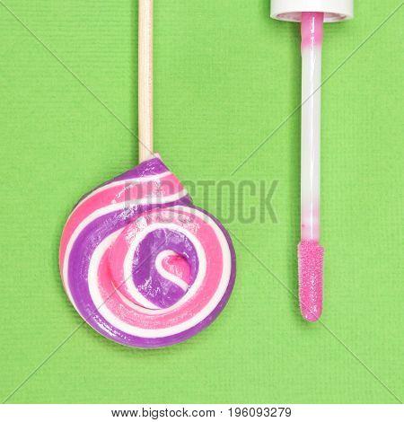 Closeup Of Pink Lip Gloss With Lollipop