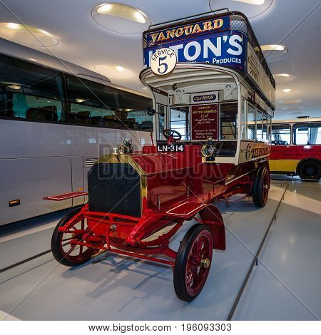 STUTTGART GERMANY- MARCH 19 2016: Vintage bus Milnes-Daimler double-decker bus 1907. Mercedes-Benz Museum.