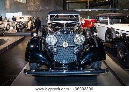 STUTTGART GERMANY- MARCH 19 2016: Full-size luxury car Mercedes-Benz 770 (W07) Grand Mercedes open tourer 1937. Mercedes-Benz Museum.