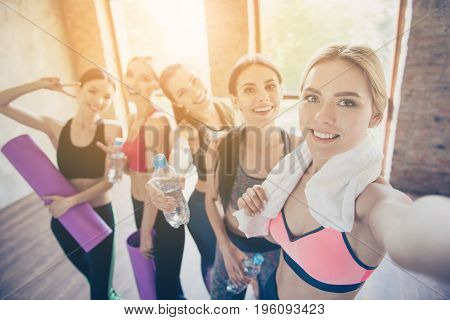 Selfie Mania In Gym! Five Girlfriends In Fashionable Sport Outfits Are Posing For A Selfie Photo, Th