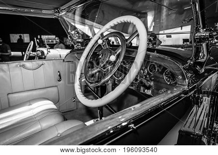 STUTTGART GERMANY- MARCH 19 2016: Cabin of luxury car Mercedes-Benz Typ SS (Super Sport) 1930. Black and white. Mercedes-Benz Museum.