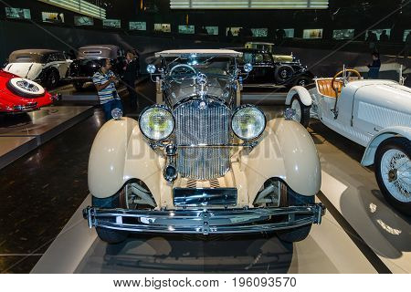 STUTTGART GERMANY- MARCH 19 2016: Luxury car Mercedes-Benz Typ SS (Super Sport) 1930. Mercedes-Benz Museum.