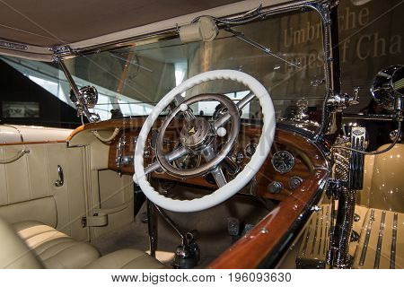 STUTTGART GERMANY- MARCH 19 2016: Cabin of luxury car Mercedes-Benz Typ SS (Super Sport) 1930. Mercedes-Benz Museum.
