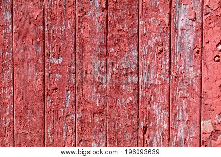 The vertical panels of barn wood show weathering.