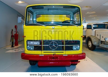 STUTTGART GERMANY- MARCH 19 2016: Fuel oil tank truck Mercedes-Benz LP 1513 1974. Mercedes-Benz Museum.