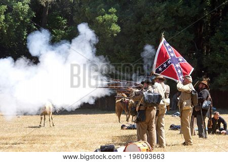 Duncan Mills CA - July 16 2017: Unidentified participants at Northern California's largest Civil war reenactments and one of the largest west of the Mississippi. A two day living history experience.