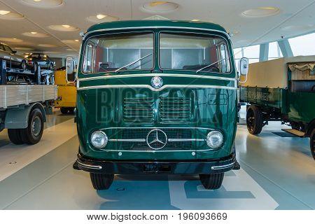 STUTTGART GERMANY- MARCH 19 2016: The truck Mercedes-Benz LP333 platform truck 1959. Mercedes-Benz Museum.