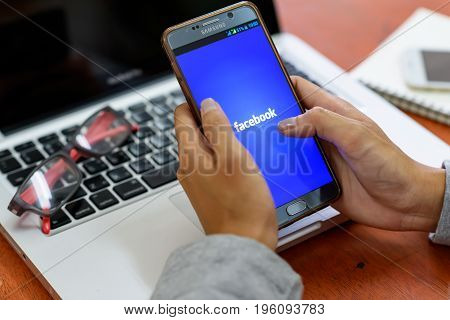 Sakon Nakhon Thailand - May 3 2017. Facebook app on screen by Samsung note 5 showing Facebook is application for instant messaging on smartphones and computers from USA.