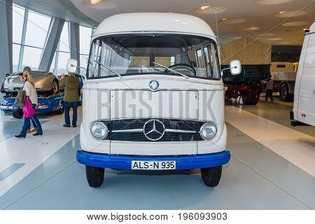 STUTTGART GERMANY- MARCH 19 2016: Panel van Mercedes-Benz L406 1965. Mercedes-Benz Museum.