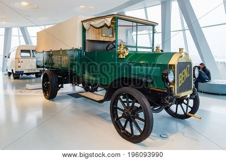 STUTTGART GERMANY- MARCH 19 2016: The truck Benz 3-tonne 1912. Mercedes-Benz Museum.