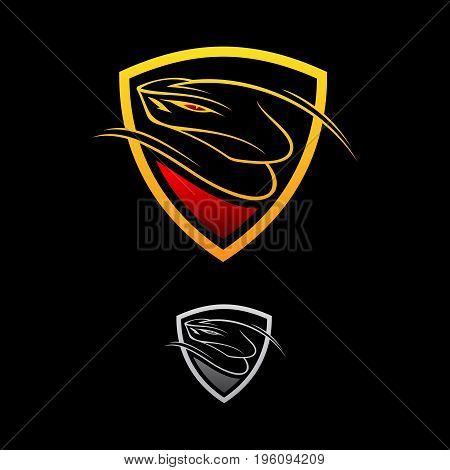 Vector logo design viper shield on the black background. Snake icon. Viper snack. Vector illustration eps8. eps10