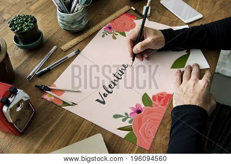 Valentine Love Letter Message Words Graphic