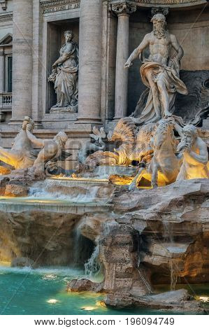 Trevi Fountain the Baroque fountain in Rome Italy at dusk. Detail.