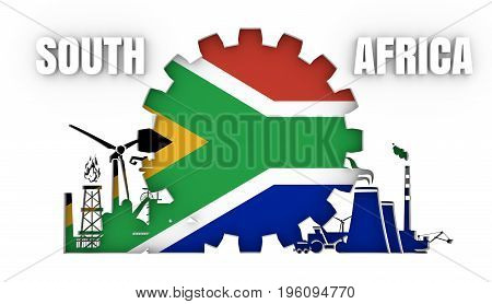 Energy and Power icons set with flag of the South Africa. Sustainable energy generation and heavy industry. 3D rendering.