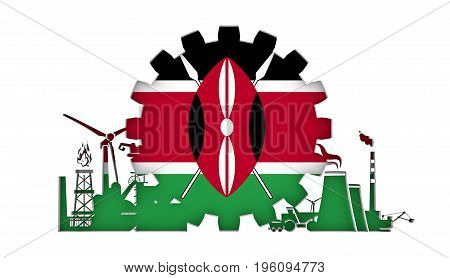 Energy and Power icons set with flag of the Kenya. Sustainable energy generation and heavy industry. 3D rendering.