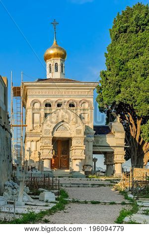 Old Russian Orthodox Church In Menton On The French Riviera