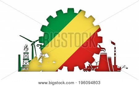 Energy and Power icons set with flag of the Congo. Sustainable energy generation and heavy industry. 3D rendering.