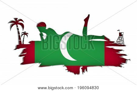 Young woman sunbathing on a beach. Cutout silhouette of the relaxing girl on a grunge brush stroke. Palm and lifeguard tower. Flag of the Maldives on backdrop. 3D rendering.