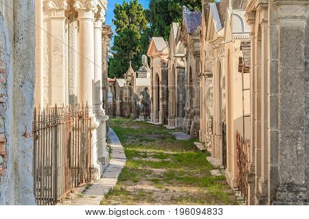 Old French Cemetery In The Town Of Menton On The French Riviera