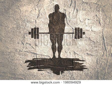 bodybuilder and barbell silhouettes. Bodybuilder posing on grunge brush stroke.