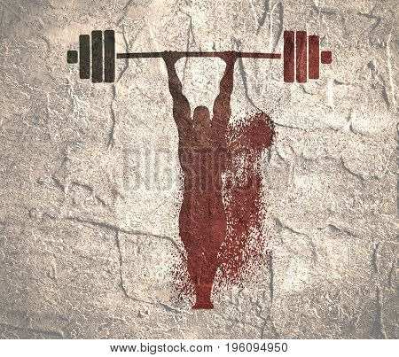Silhouette of bodybuilder and barbell from particles. Icon of the posing athlete.