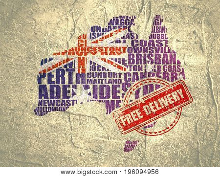 Map of Australia made from cities list. Textured by national flag. Free delivery stamp