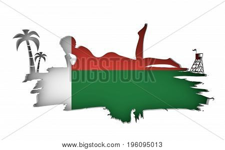 Young woman sunbathing on a beach. Cutout silhouette of the relaxing girl on a grunge brush stroke. Palm and lifeguard tower. Flag of the Madagascar on backdrop. 3D rendering.