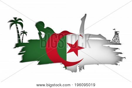 Young woman sunbathing on a beach. Cutout silhouette of the relaxing girl on a grunge brush stroke. Palm and lifeguard tower. Flag of the Algeria on backdrop. 3D rendering.