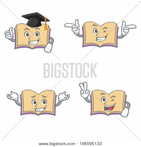 Set of open book character with graduation wink two finger vector illustration