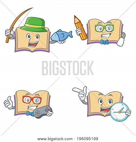 Set of open book character with fishing student gamer clock vector illustration