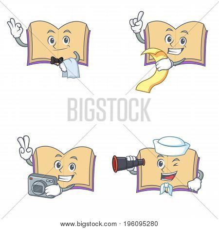 Set of open book character with waiter menu photo binocular vector illustration