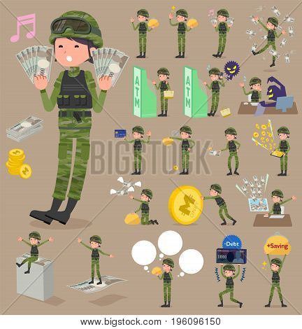 Flat Type Military Wear Woman_money