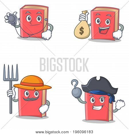 Set of red book character with doctor money bag farmer pirate vector illustration