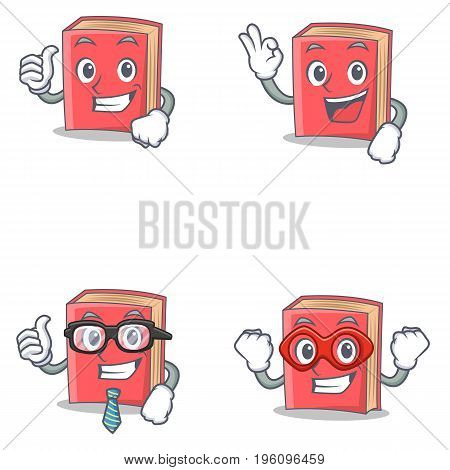 Set of red book character with proud okay businessman hero vector illustration
