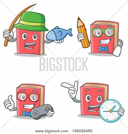 Set of red book character with fishing student gamer clock vector illustration