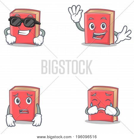 Set of red book character with cool waving afraid crying vector illustration