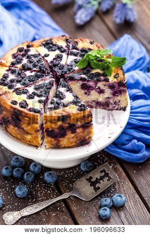 Blueberry cheesecake with fresh berries and cottage cheese