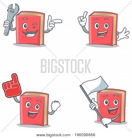 Set of red book character with mechanic foam finger flag vector art