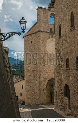 Old alley in the center of Monteleone di Spoleto, Umbria