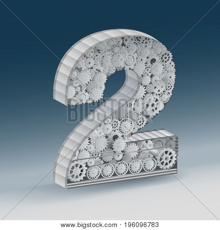 industry number two alphabet concept of industrial business.  vector realistic.