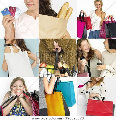Set of Diverse Women Enjoying Sale Buy Shopping Studio Collage