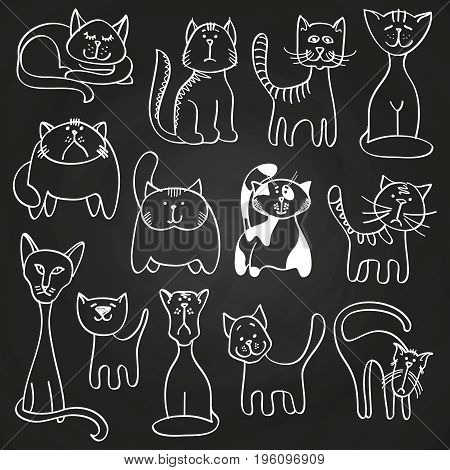 Hand drawn doodle cats set on blackboard. Sketch cats on blackboard, vector illustration