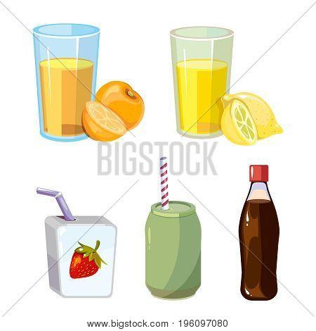 Popular summer drinks cartoon style on white backdrop. Vector illustration