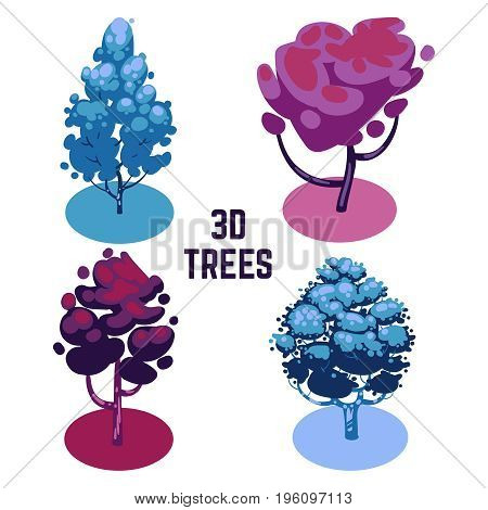 Unusual colors trees collection - fantastic 3D trees isolated on white. Vector illustration