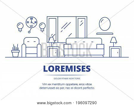 Thin line style living room concept design. Living apartment home room. Vector illustration